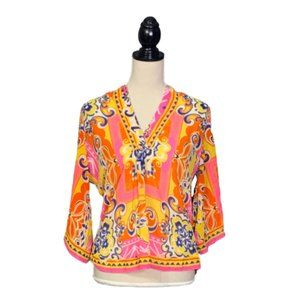 Carmen Marc Valvo Colorful Flare Sleeve Blouse S